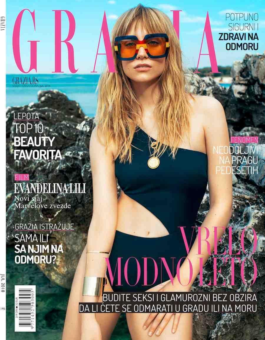 Midikennov model Ena Čuček za naslovnicu i editorijal Grazia Srbija